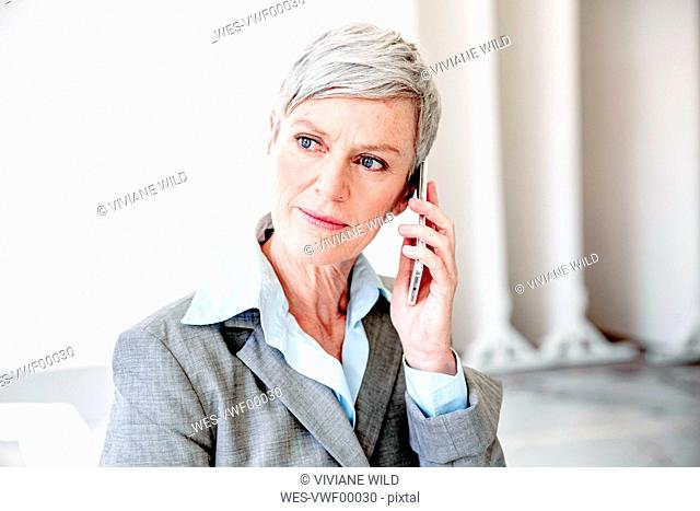 Portrait of mature businesswoman on the phone