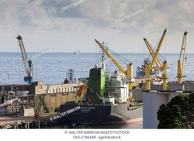 New Zealand, North Island, New Plymouth, view of the town port