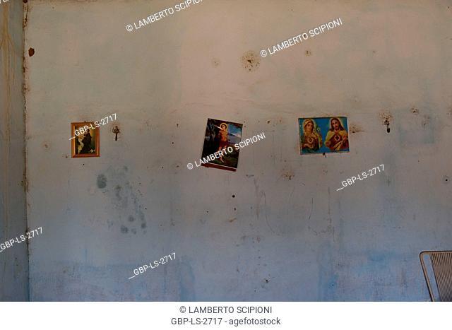 Images of Santos, wall, house; 2017, Caatinga, Boa Vista, Paraíba, Brazil