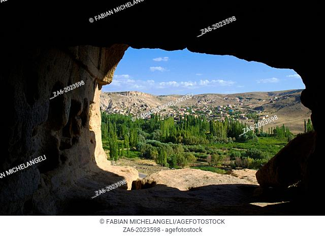 View toward Yaprakhisar from the entrance to the Selime Monastery. Cappadocia, Central Anatolia, Turkey