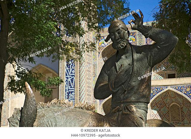 Asia, Uzbekistan, Central Asia, silk road, outside, day, statue, sculpture, figure, monument, Nasreddin, Hoja Nasruddin, nobody, Buxoro, Bukhara