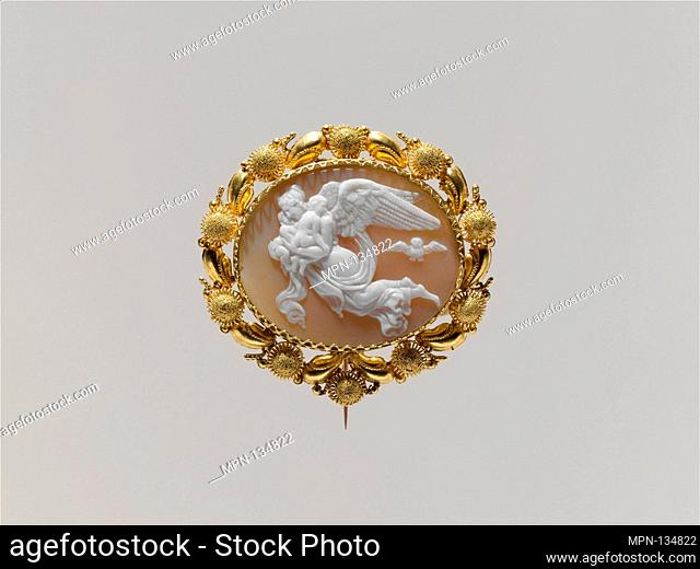 Pin (part of a set). Date: mid-19th century; Culture: Italian, probably Naples; Medium: Gold, shell (Cassia rufa); Dimensions: Overall: 1 3/4 x 1 1/2 in