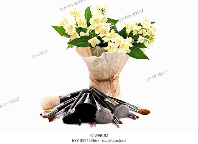 Jasmine. Makeup brushes set. Isolated. White background