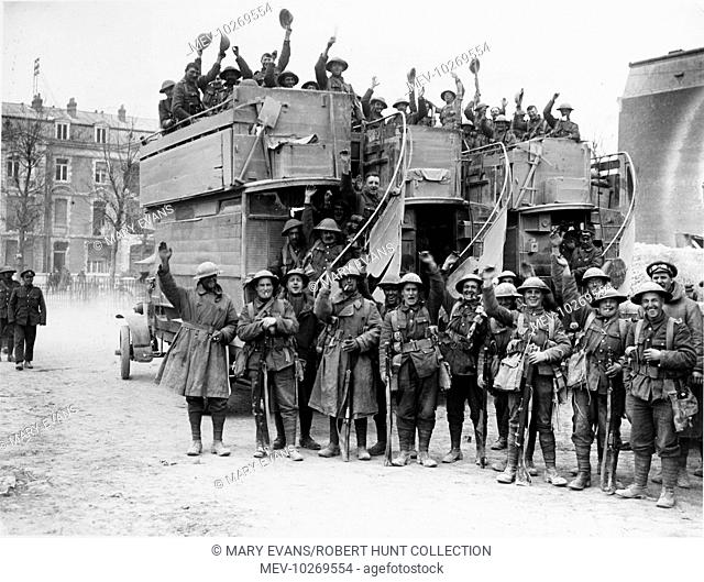 British troops embussing at Arras on returning from the capture of Monchy le Preux by the 37th Division during the First Battle of the Scarpe (First Battles of...