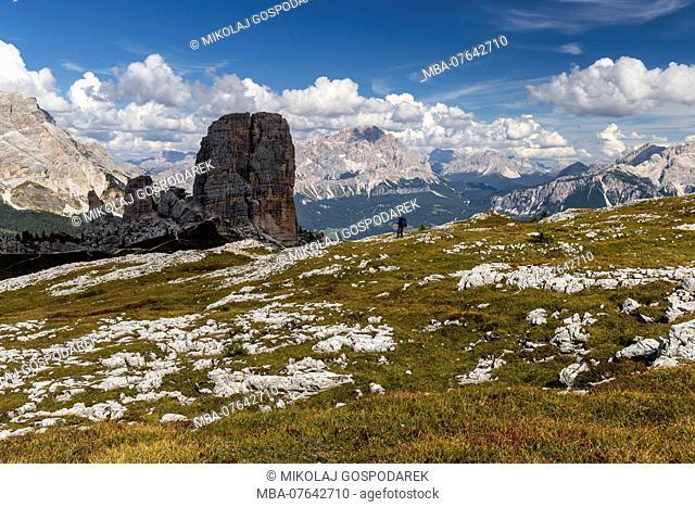 Europe, Italy, Alps, Dolomites, Mountains, Cinque Torri, Tofane, Cristallo, View from Rifugio Nuvolau