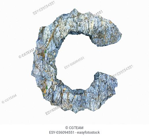 high quality 3d render of stone letter