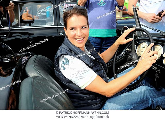 Start of the 8th Oldtimer Rallye 'Hamburg-Berlin-Klassik 2015' at Olympiastadion. Featuring: Katarina Witt Where: Germany When: 27 Aug 2015 Credit: Patrick...