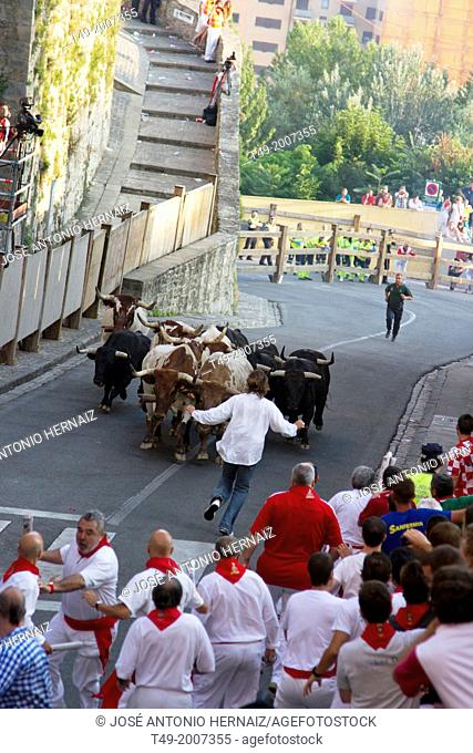 running of the bulls in San Fermin in Pamplona (Navarre)