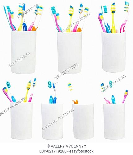 collection of tooth brushes in ceramic glases