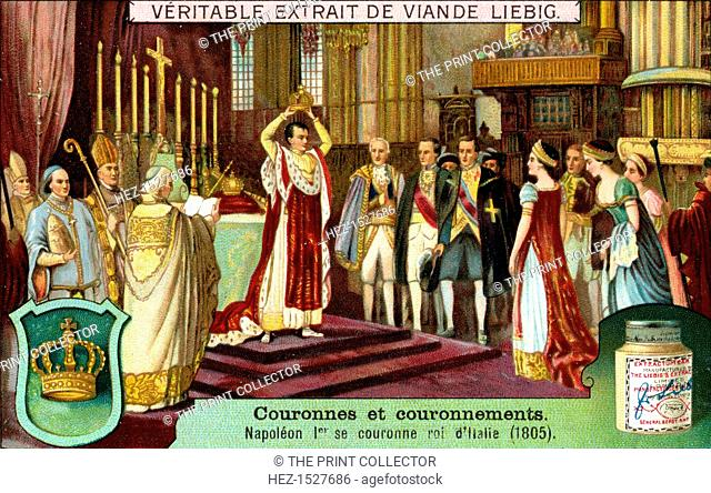 Napoleon I crowns himself King of Italy in 1805, (c1900). French advertising for Liebig's extract of meat