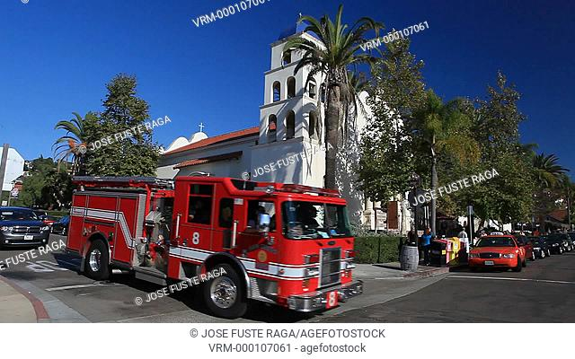 USA-California-San Diego City-Historic Old San Diego, Firemen truck