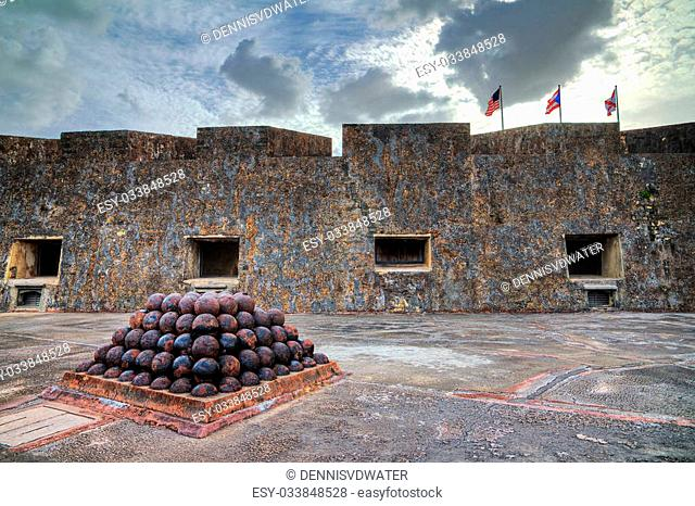Beautiful view of the cannonballs of fort San Cristobal in San Juan, Puerto Rico