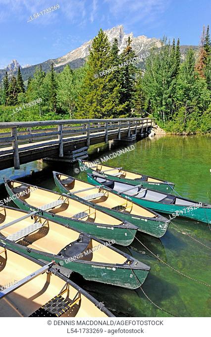 Canoes at Jenny Lake Grand Teton National Park Wyoming WY United States