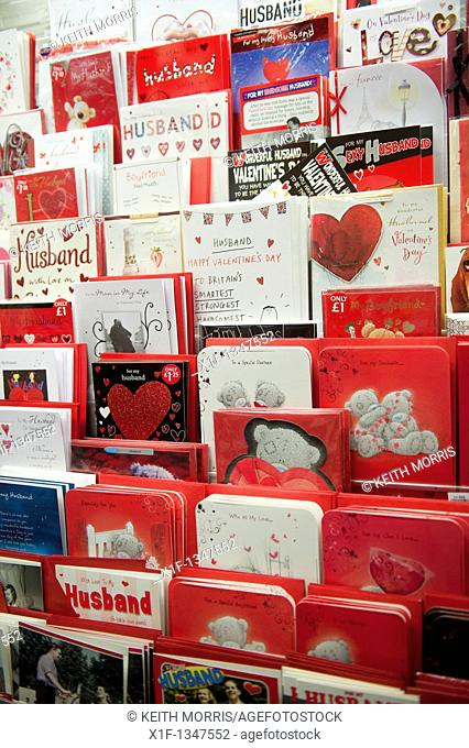 Racks of valentine cards on sale at a branch of WH Smith, UK
