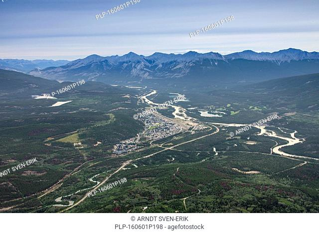 Aerial view from the summit of The Whistlers over the town Jasper, commercial centre of Jasper National Park, Alberta, Canada