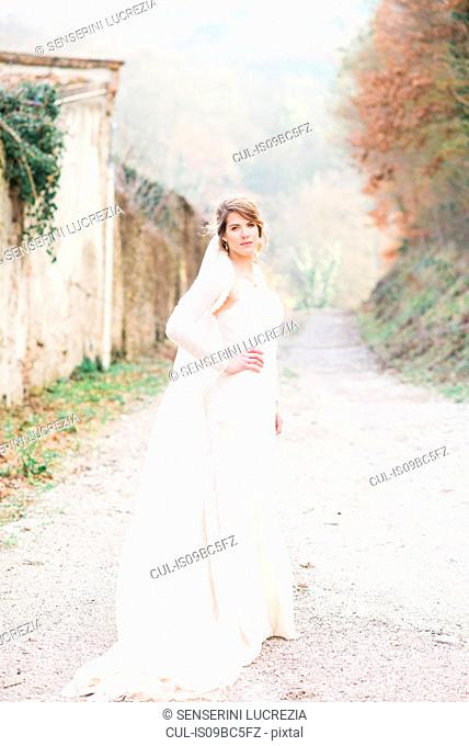 Portrait of bride on country lane