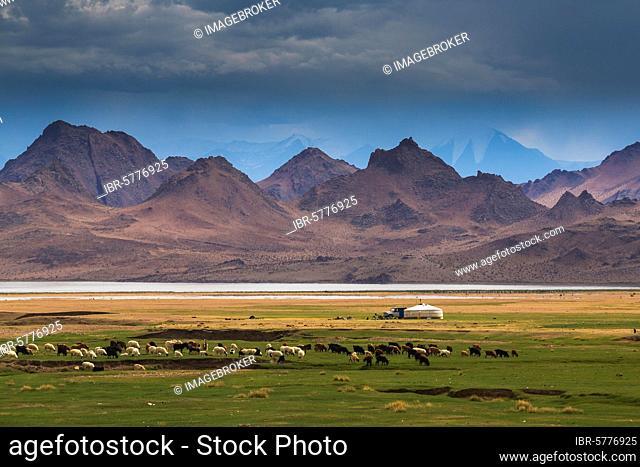 Landscape of Western Mongolia. Mount Tsambagarav, Uvs province, Mongolia, Asia