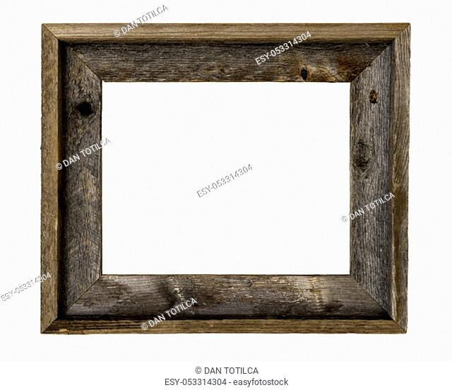 Rustic recycled wood picture frame isolated on white with clipping path at ALL sizes