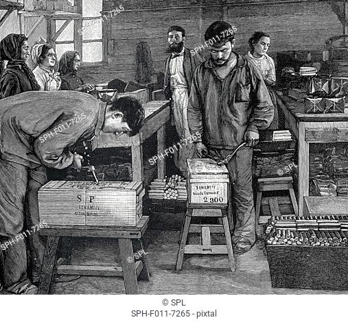 Dynamite workers, historic illustration