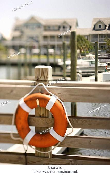 Life preserver hanging on dock on Bald Head Island, North Carolina