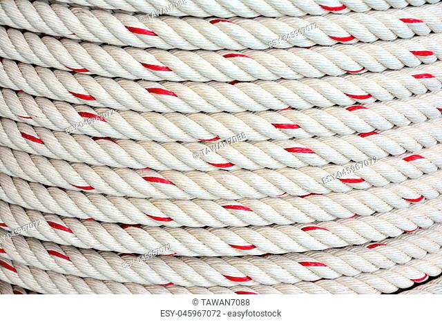 Background of roll of rope. Texture rope closeup