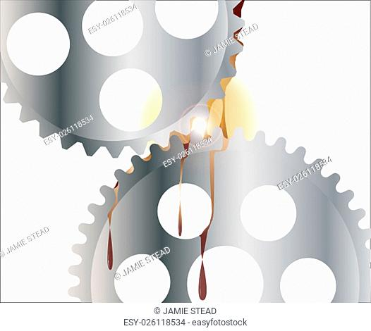 Two interlocking gears with oil and a bright light between the teeth