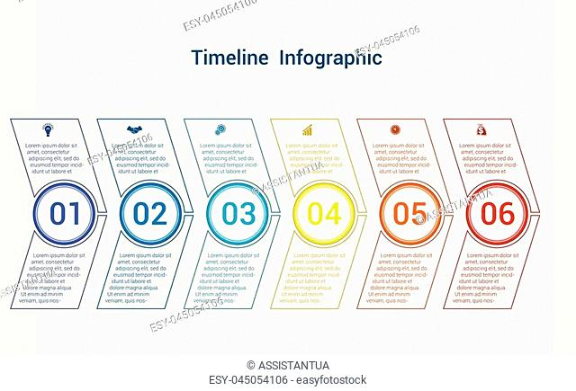 Timeline or area chart, diagram data Elements For Template infographics 6 position. Business strategy