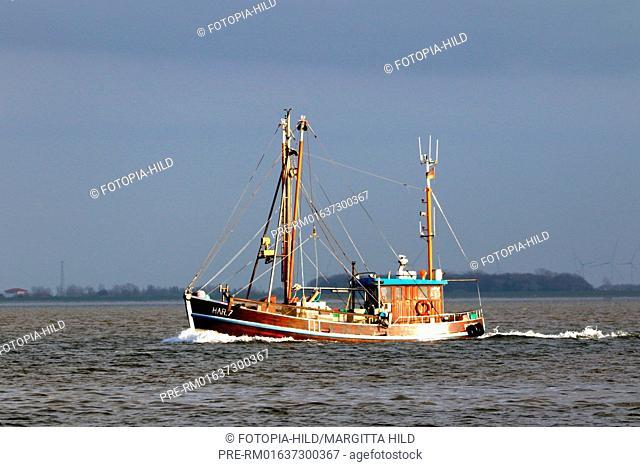 Fishing cutter with dragnets, Friesland district, Lower Saxony, Germany, North Sea / Fischkutter mit Schleppnetzen, Landkreis Friesland, Niedersachsen