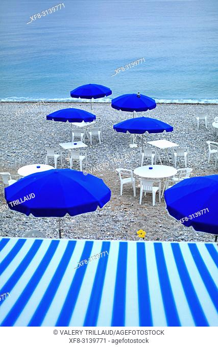 Umbrellas, Beach, Nice, Alpes Maritimes, 06, PACA, France