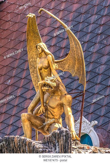 "Ravadinovo, Bulgaria â. "" 07. 11. 2019. Sculpture on the roof of the castle of Ravadinovo, Bulgaria, on a summer sunny day"