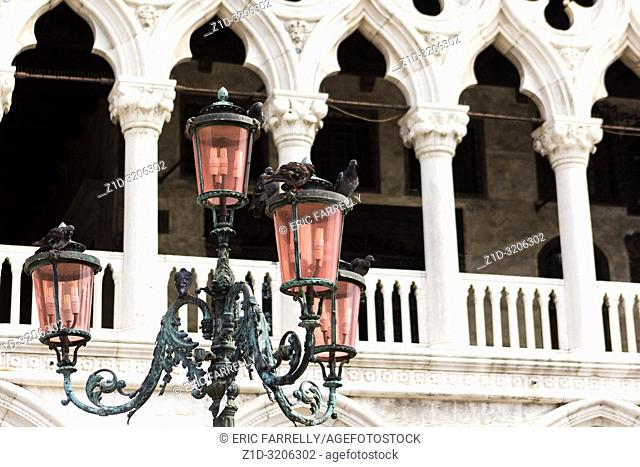 St Marks square Venice. Street Lights Italy. Italy. Venice. Famous lights of pink Murano glass