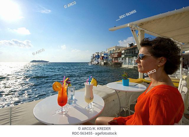 Cocktail in Little Venice, Mykonos-Town, Mykonos, Cyclades, Greece MR