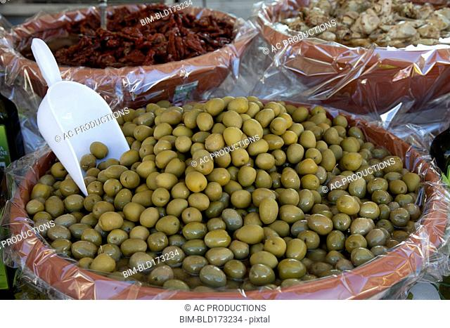 Close up of olives for sale