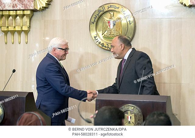 German Minister for ForeignAffairs FrankWalter Steinmeier (L, SPD) and his Egyptian counterpart Sameh Shoukry shake hands during a news conference in Cairo