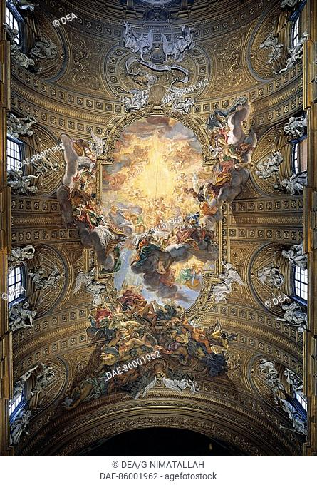 Italy - Latium region - Rome. Church of Jesus, 'Triumph of the Holy Name of Jesus' (1672-83). Fresco by Giovan Battista Gaulli also known as Baciccio (or...