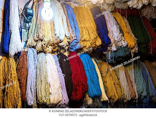 Dyed wool for carpets on the old Bazaar of Kashan city, capital of Kashan County in Iran