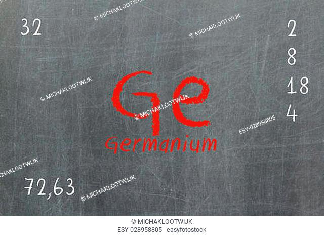 Isolated blackboard with periodic table, Germanium, chemistry