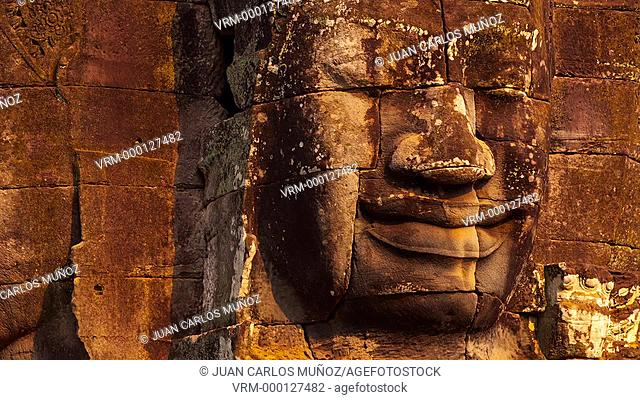 Face-towers. Upper terrace. Bayon Temple. Angkor. Siem Reap town, Siem Reap province. Cambodia, Asia
