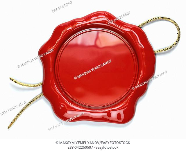 Red wax seal or stamp with copy space isolated on white background. 3d illustration