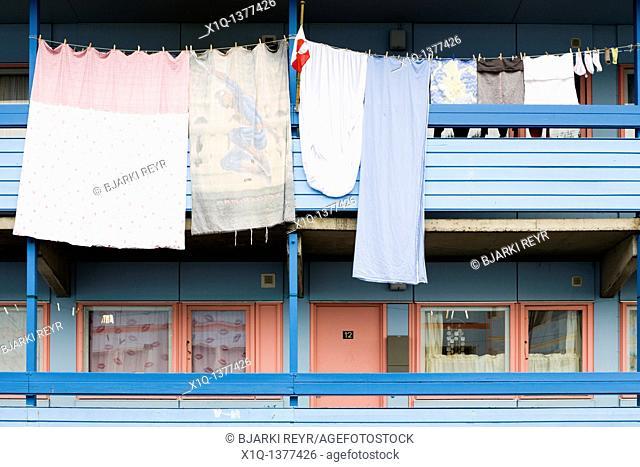 Laundry hanging to dry, Narsaq, South Greenland
