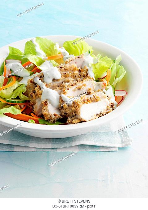 Bowl of chicken in salad