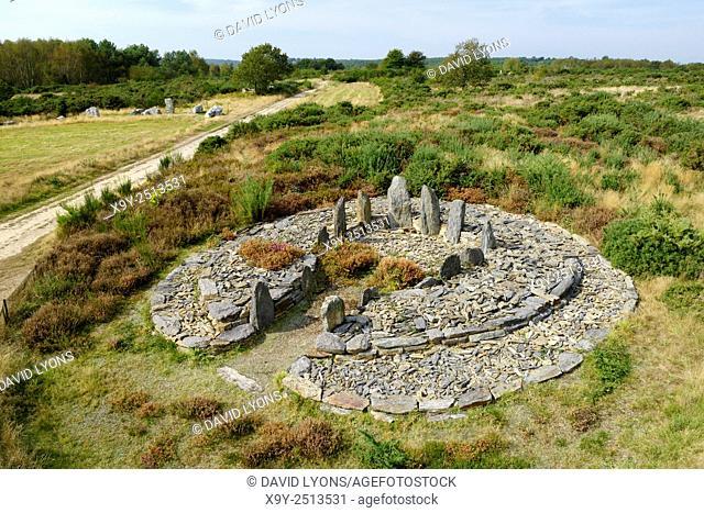 Landes de Cojoux, Saint-Just, Brittany, France. The excavated prehistoric barrow passage grave dolmen of Croix Saint Pierre west