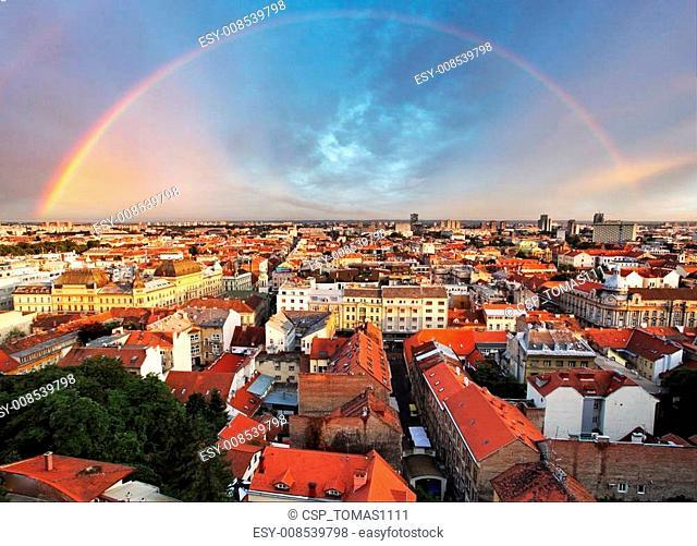 Zagreb cityspace with rainbow