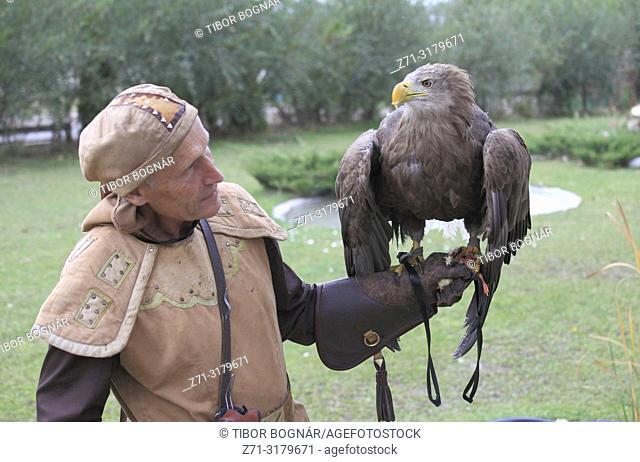 Kazakhstan; Almaty, Sunkar Falcon Centre, eagle hunter, white-tailed eagle, haliaeetus albicilla,
