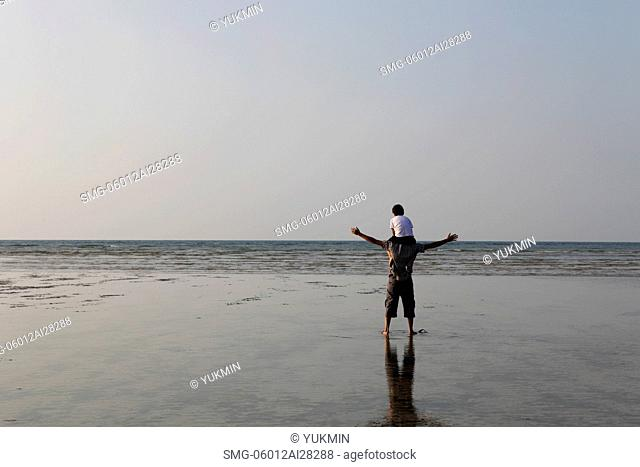 Son sitting on father's shoulders looking at the sea