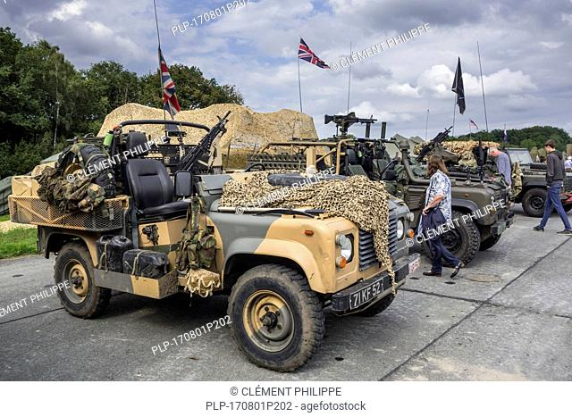 Armed military Land Rover 90, British army four-wheel-drive off-road vehicles at militaria fair