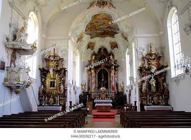 Europe, Germany, Bavaria, cloister of Wessobrunn, minster Saint Johann, inside