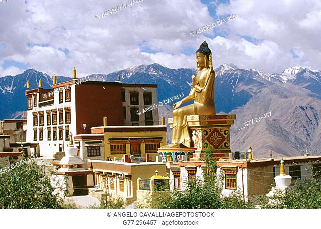 Giant Buddha statue at Likir Monastery. Ladakh. Jammu and Kashmir, India