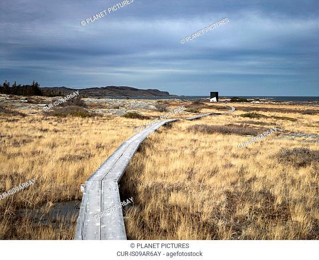 Elevated walkway over marshland, Fogo Island, Newfoundland, Canada