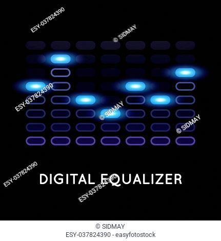 Digital dark equalizer with blue light, abstract vector illustration